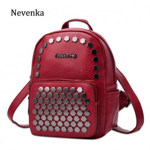 Mini Backpack Women Leather Backpacks with Rivet Ladies Back pack Girls Leather Backpack Female Small Backpacks 2019