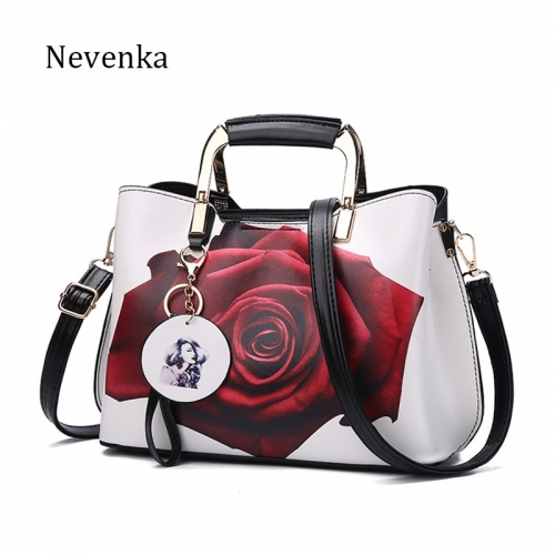 Women Handbag Fashion Style Female Painted Shoulder Bags Flower Pattern Messenger Bags Leather Casual Tote Evening Bag