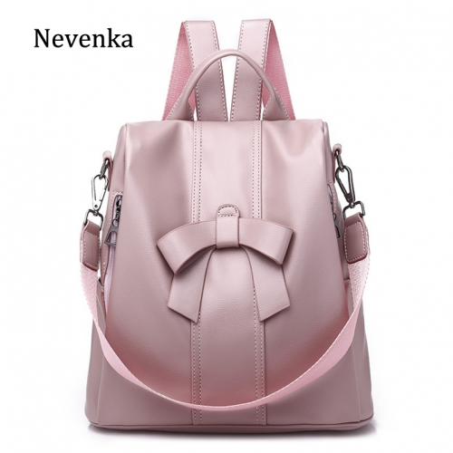 New fashionable bags of 2019, shoulder bags, ladies'sweetie PU backpacks, bow-knot bags